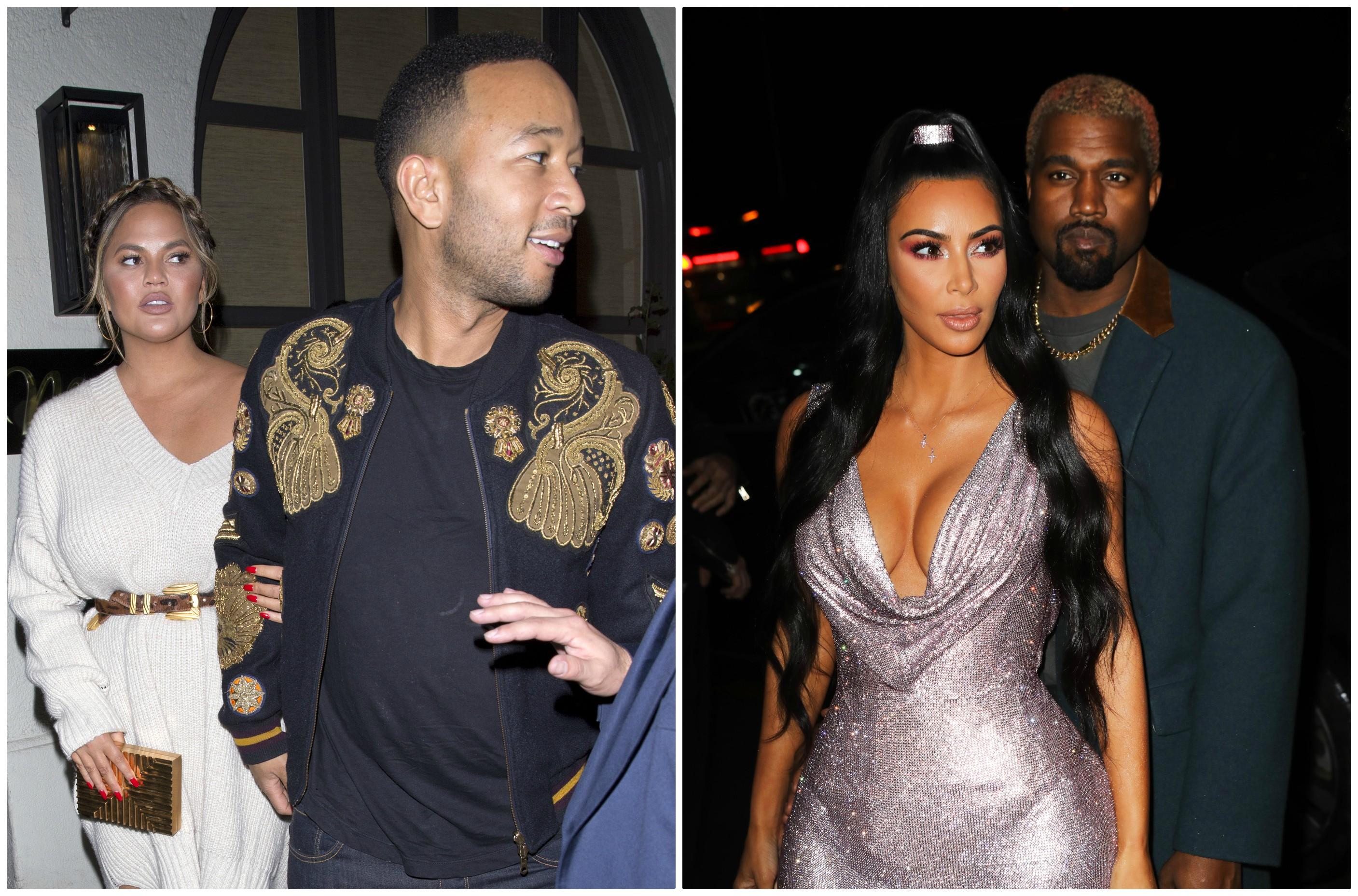 John Legend Chrissy Teigen Kanye West Kim Kardashian