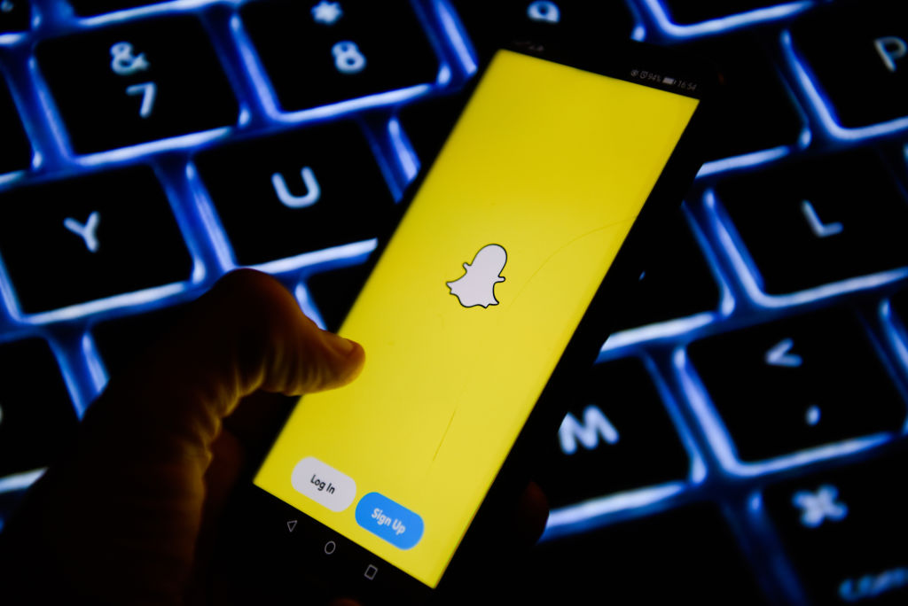 Snapchat app is seen on an android mobile phone...