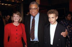James Earl Jones, his wife Cecilia, and son, Flynn, arrive a