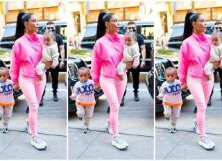 Kim Kardashian in NYC with Saint West and Chicago West