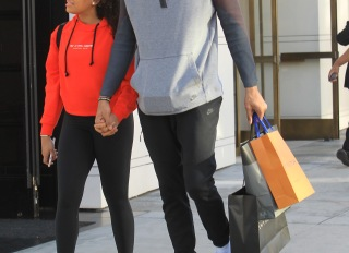 Giannis Antetokounmpo and girlfriend Mariah Riddlesprigger shop in Beverly Hills
