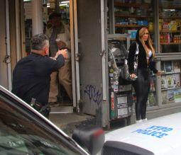 Jennifer Lopez films a scene