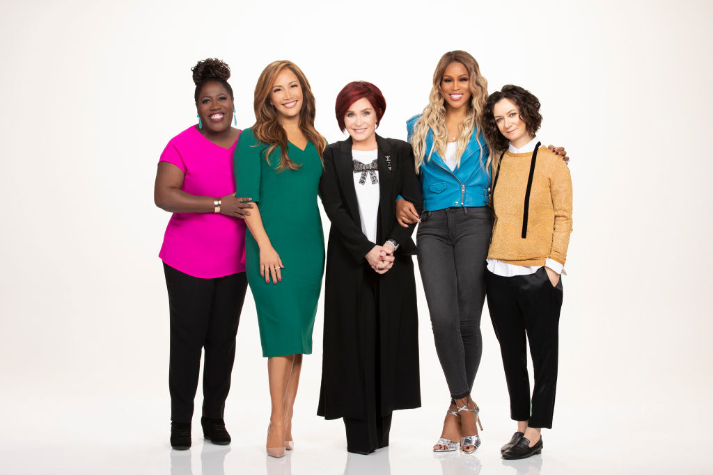 The Talk cohosts Carrie Ann Inaba, Sara Gilbert, Sheryl Underwood, Sharon Osbourne and Eve Cooper