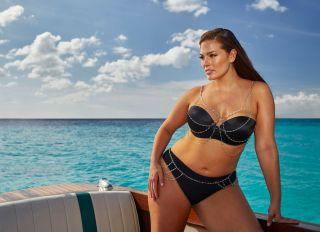 Ashley Graham modeling bikinis for Swimsuits For All