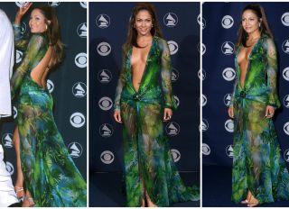 Jennifer Lopez Green Jungle Print Versace Dress