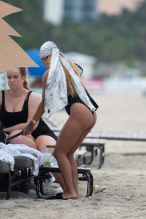 Karrueche wears swimwear on the beach in Miami