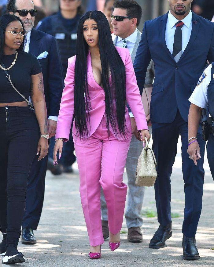 Cardi B court pink suit
