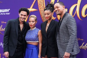 Will Smith, Jada Pinkett Smith, Jaden Smith, Trey Smith at Aladdin Premiere