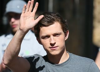 Huge crowd turned out to see Tom Holland filming for the new 'Spider Man, Far From Home ' in Bishop Stortford - Hertfordshire