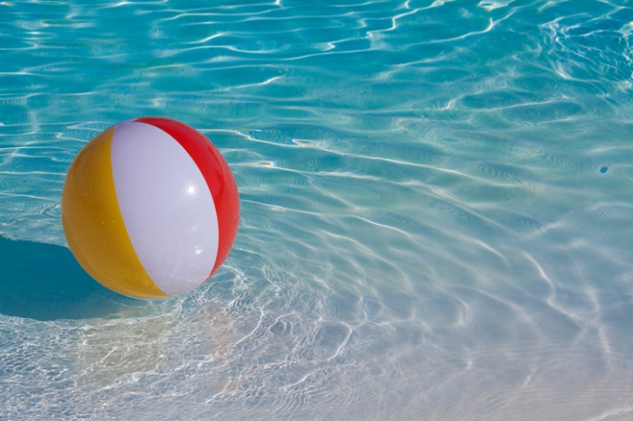 High Angle View Of Beach Ball In Swimming Pool