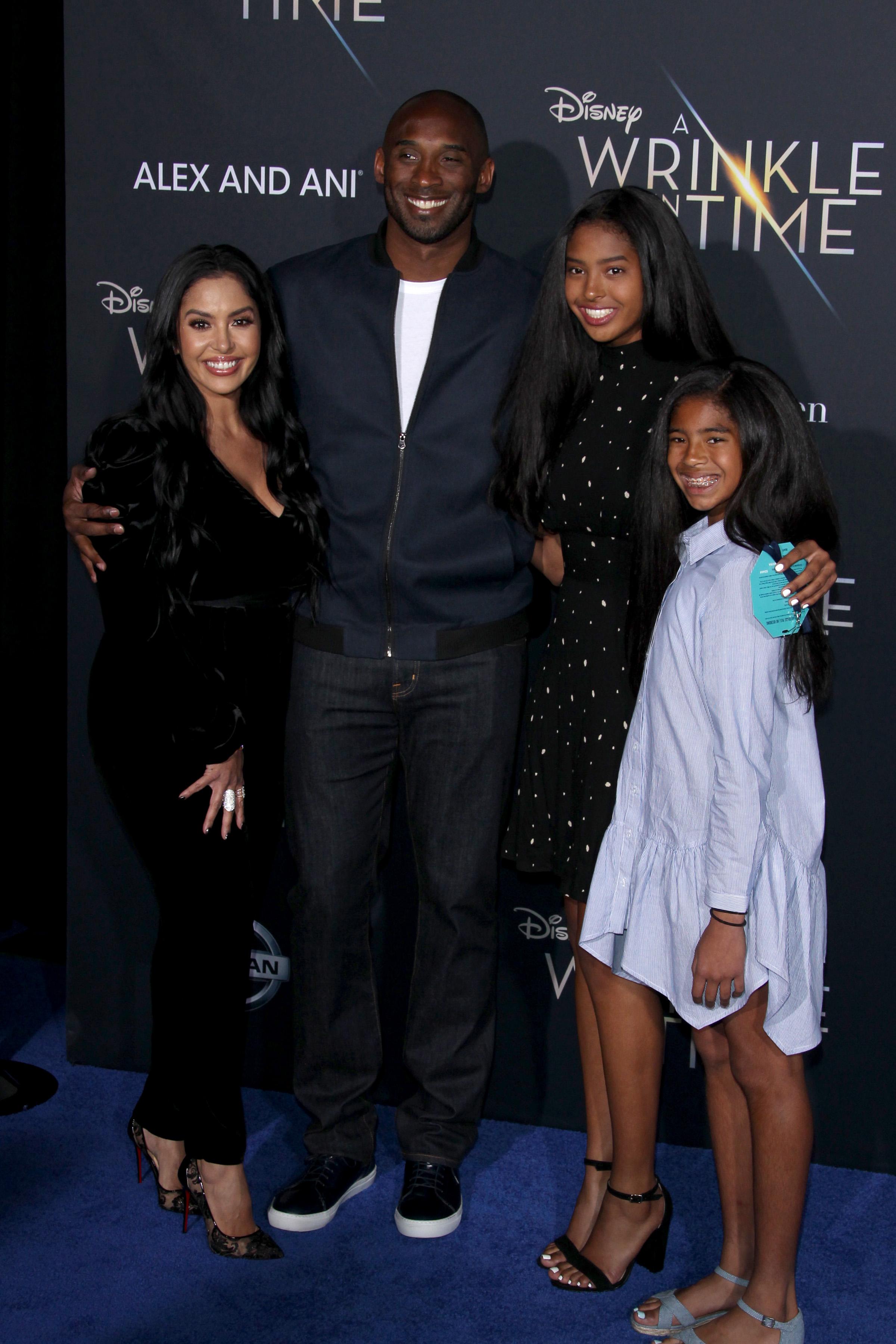 Kobe Bryant Vanessa Bryant and oldest daughters Natalia And Gianna