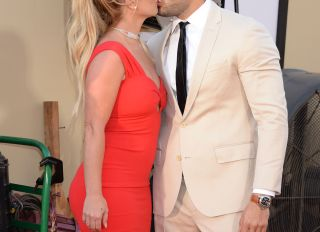 Britney Spears and Sam Asghari attend the Once Upon A Time In Hollywood Premiere