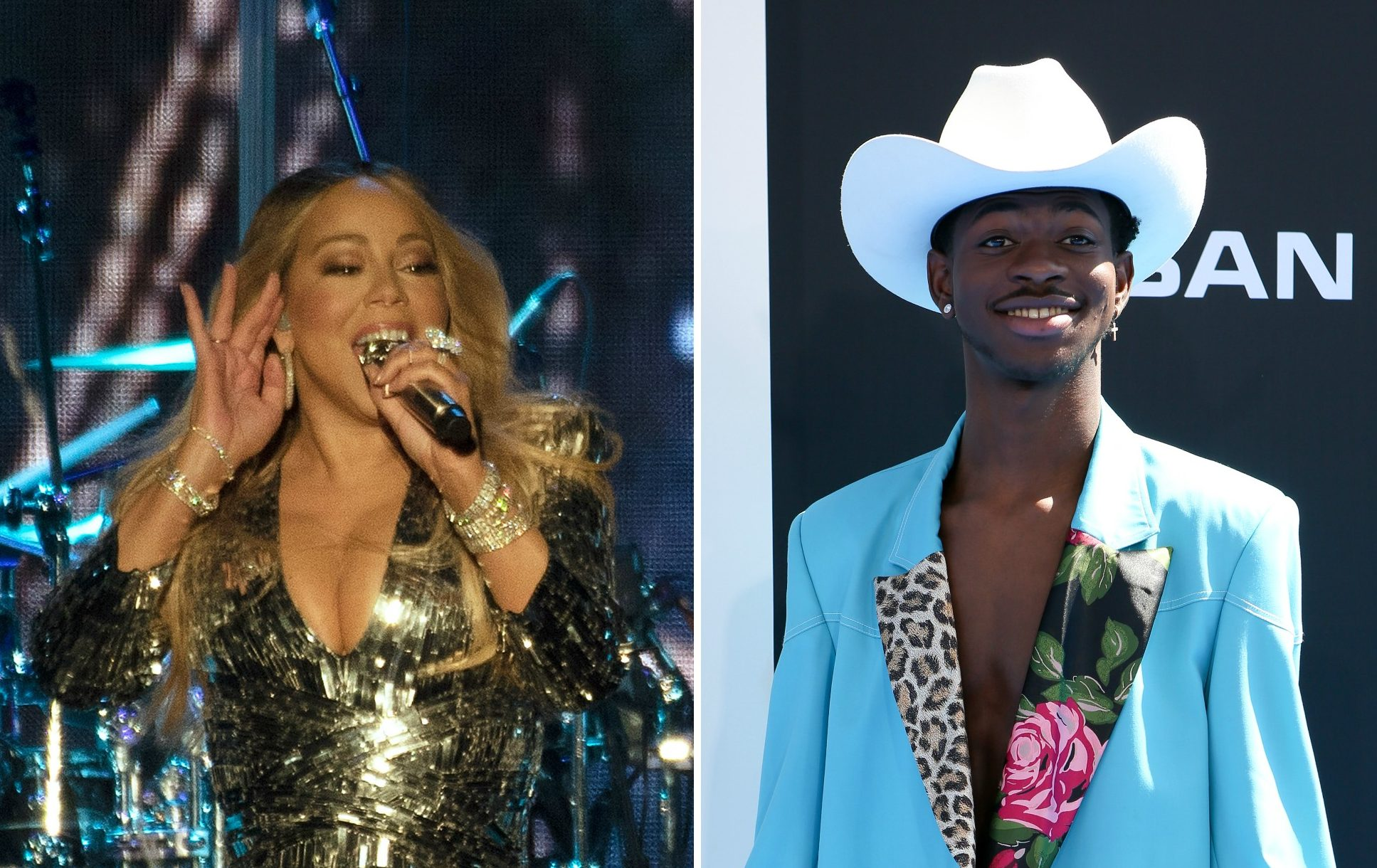 Mariah Carey and Lil Nas X side-by-side