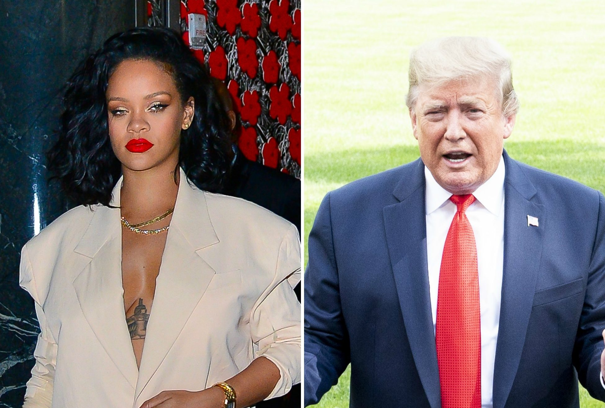 Donald Trump and Rihanna side-by-side