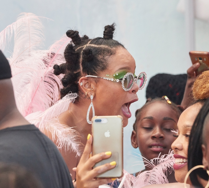 Rihanna wears pink feathers to Cropover