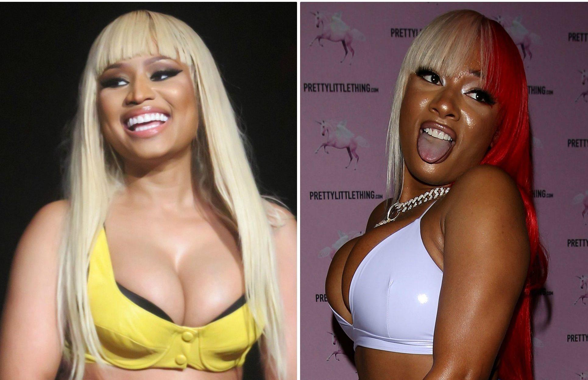 Megan Thee Stallion and Nicki Minaj side-by-side