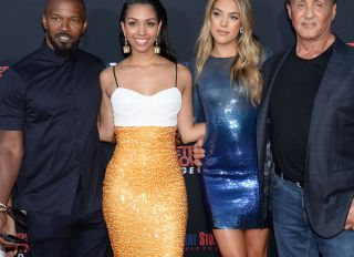 Jamie Foxx and Sylvester Stallone support their daughters Corinne Foxx and Sistine Rose Stallone at the '47 Meters Down: Uncaged' Premiere