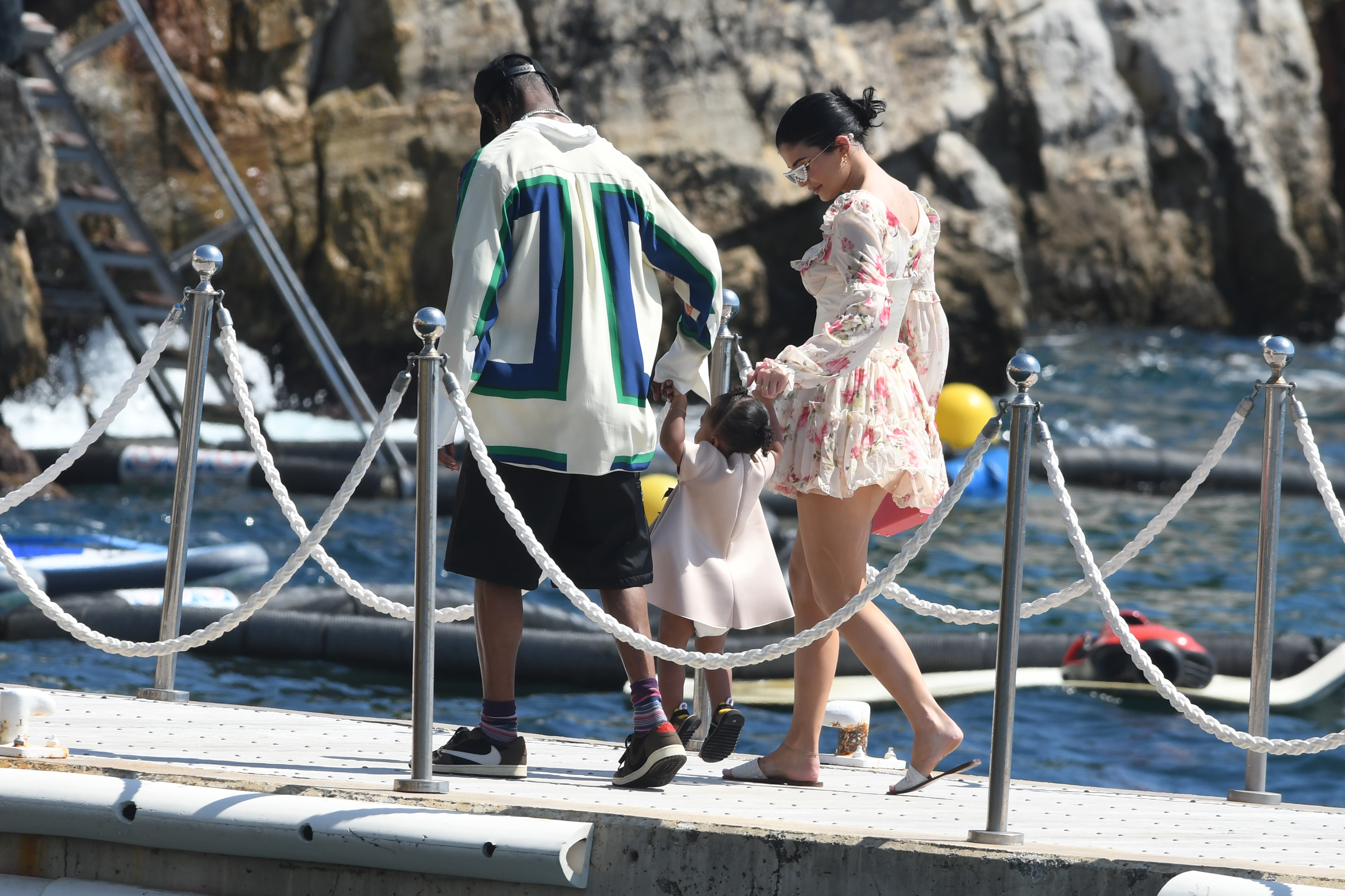 Kylie Jenner and Travis Scott take Stormi to lunch in Antibes