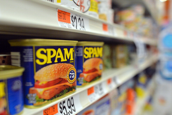 Cans of Spam meat made by the Hormel Foo