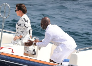 Kris Jenner and Corey Gamble boat in Monaco after shopping