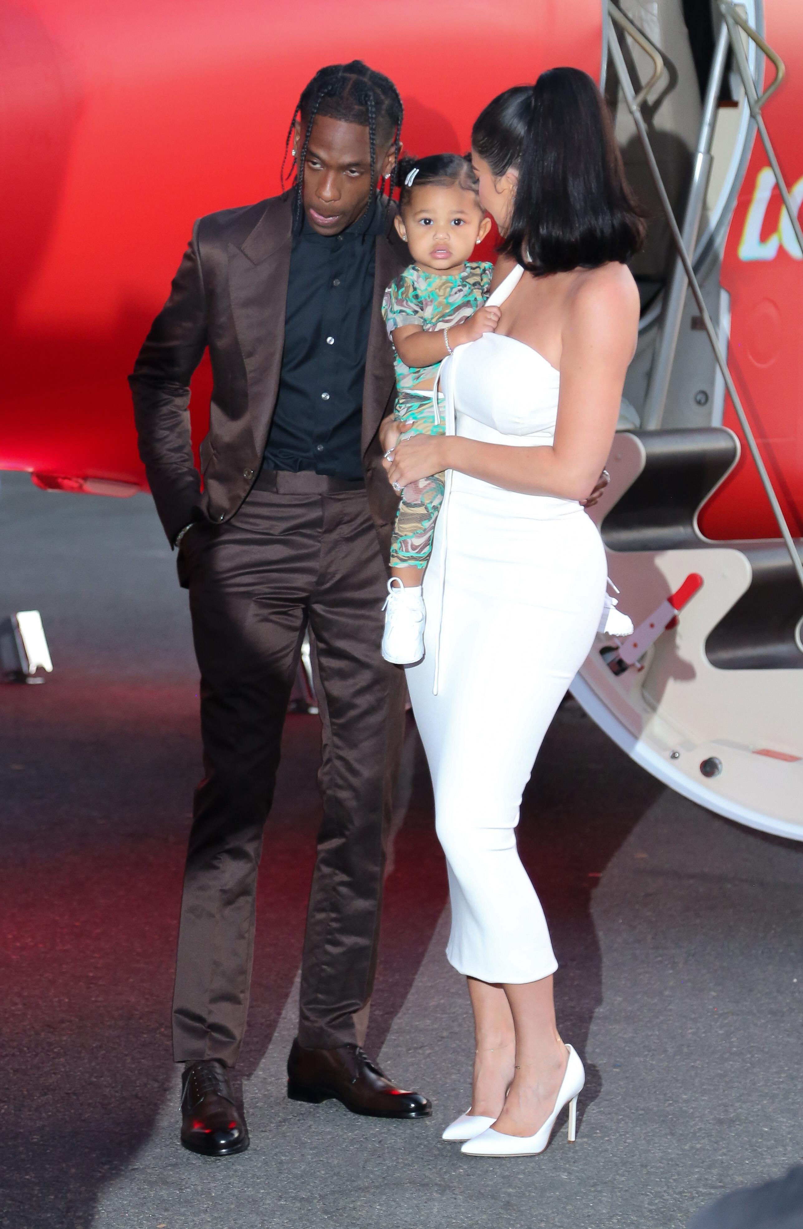 Stormi Webster, Travis Scott and Kylie Jenner