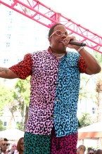 MA$E wears multicolored cheetah print short set for Vegas Pool Party