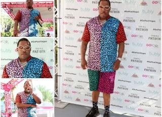 MA$E wears multicolored cheetah print short set for Vegas Pool Party