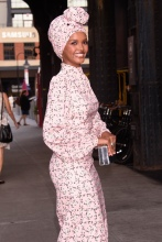 Halima Aden at the E!, ELLE, & IMG Host NYFW Kick-Off Party Top of the Standard, NY
