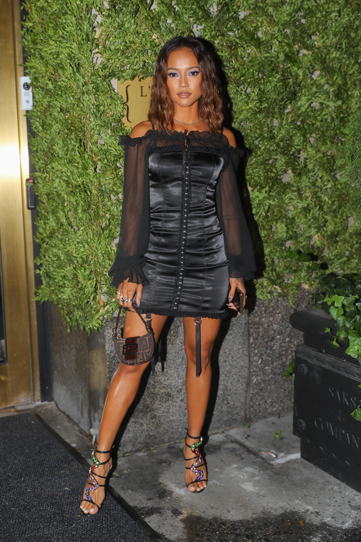 Karrueche Tran at Kim Kardashian and Winnie Harlow KKW Beauty Collab Launch
