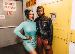 Rihanna at Slave Play with Jeremy O. Harris at Golden Theatre