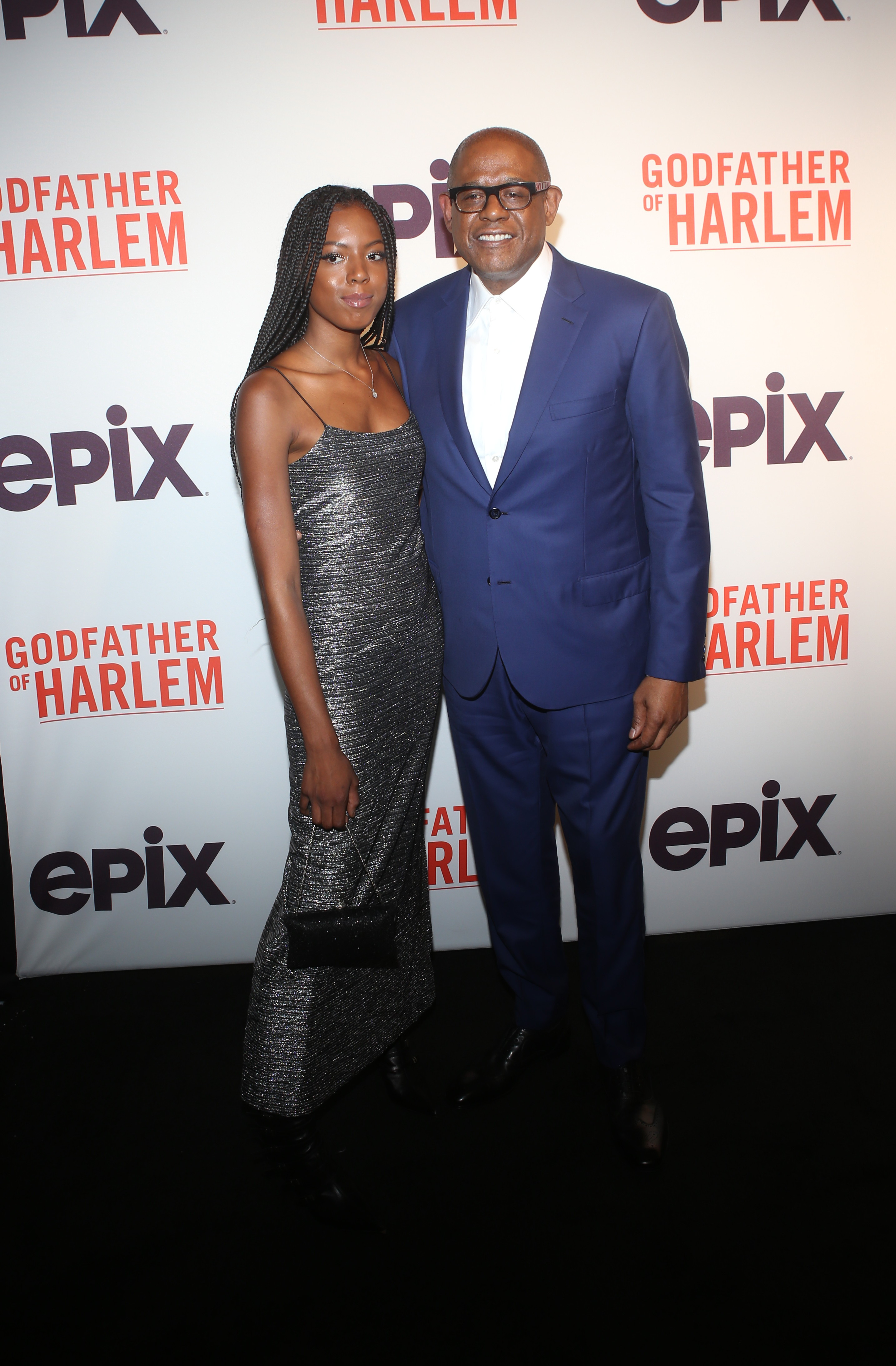 True and Forest Whitaker at the Godfather Of Harlem Screening at the Apollo