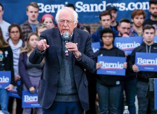 Vermont senator and presidential candidate Bernie Sanders...