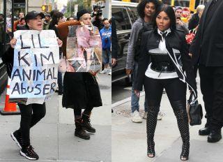 Lil Kim fur protester