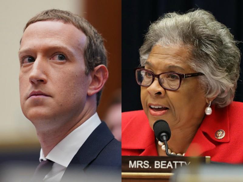 Mark Zuckerberg Rep. Joyce Beatty