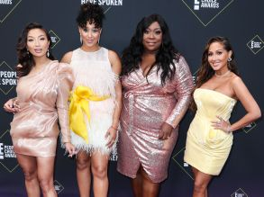 Jeannie Mai Tamera Mowry Houseley Loni Love Adrienne Bailon Houghton hosts of the Real 45th Annual Peoples Choice Awards in Los Angeles