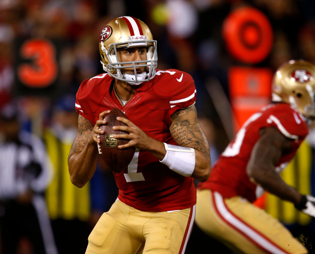 San Francisco 49ers' starting quarterback Colin Kaepernick (7) looks to pass against the Chicago Bears in the third quarter at Candlestick Park San Francisco, Calif. on Monday, Nov. 19, 2012. (Nhat V. Meyer/Staff)