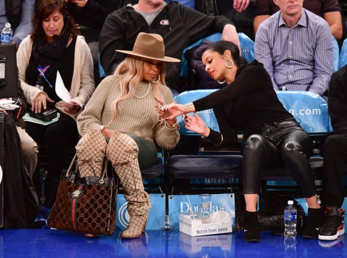 Celebrities Attend Philadelphia 76ers v New York Knicks Game