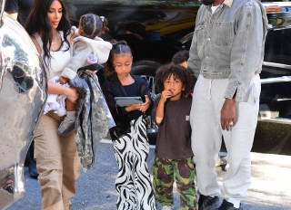 Kim Kardashian West and Kanye West with their kids