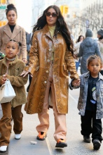 Kim Kardashian West shops at Saks Fifth Avenue with Saint West and North West