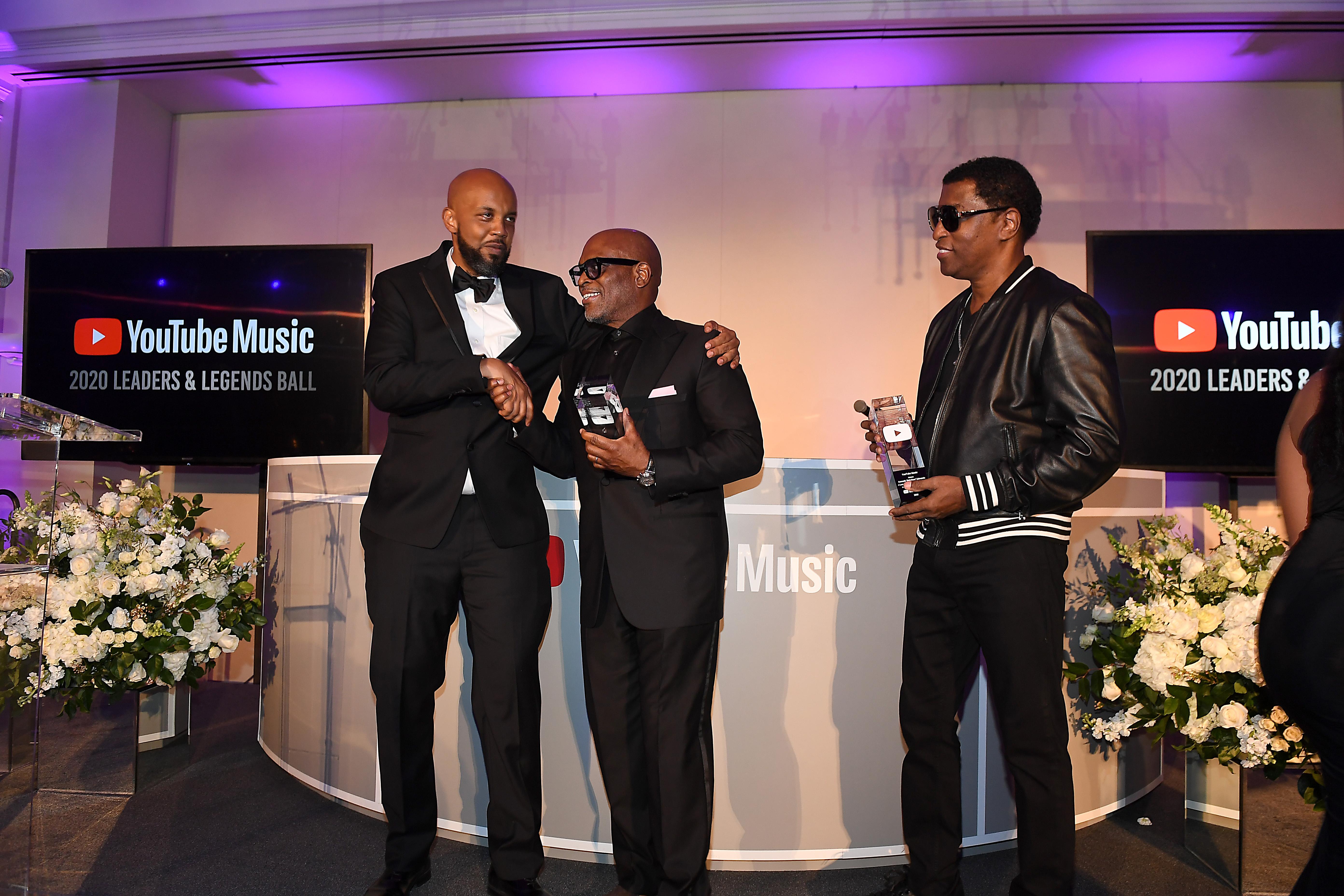 "Tuma Basa, Antonio ""L.A."" Reid, Kenneth ""Babyface"" Edmonds at the YouTube Music 2020 Leaders & Legends Ball"