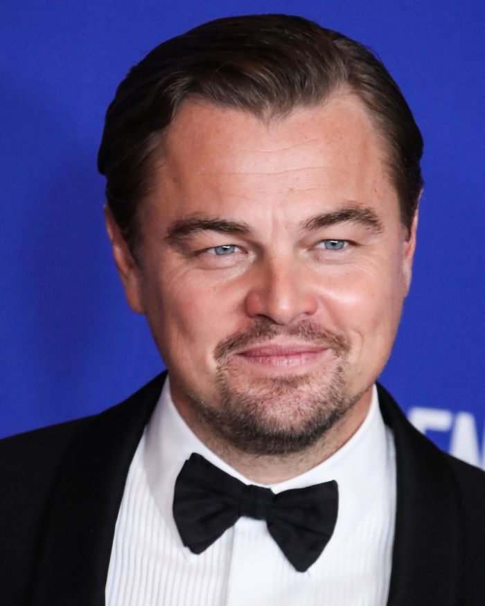 Actor Leonardo DiCaprio wearing a Giorgio Armani tux poses in the press room at the 77th Annual Golden Globe Awards held at The Beverly Hilton Hotel on January 5, 2020 in Beverly Hills, Los Angeles, California, United States.