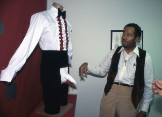 Former Black Panther Eldridge Cleaver Unveils his Codpiece Trousers Fashion Design in Los Angles in 1980s