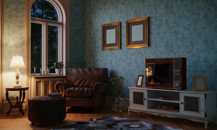 Retro Style Living Room Evening Scene
