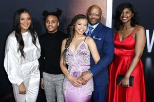 Storm Reid and her dad Rodney, mom Robyn, sisters Iman and Paris and brother Josh at The Invisible Man Premiere