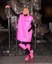 Celine Dion wears hot pink Prada