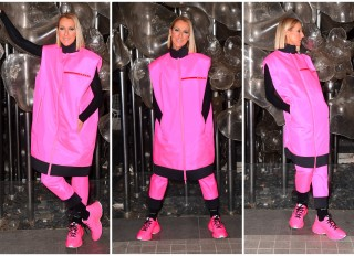 Celine Dion wears hot pink Prada