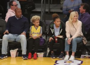 Byron Allen kids Lucas and Olivia and wife Jennifer Lucas at the Lakers game
