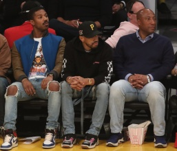 Michael B. Jordan and Byron Allen and Jay-Z at the Lakers game