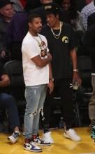 Michael B. Jordan and Jay-Z at the Lakers game