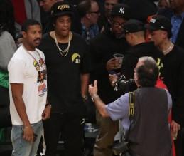 Michael B Jordan and Jay-Z at the Lakers game